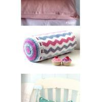 Cylinder shape ripple pattern hand crochet cushion cover pillows