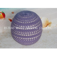 Mobile Soft Lilac Fan Pattern Hollow Out Filling Ball Shape Stool Round Pouf