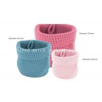 Cylinder Shape Folded Crochet Storage Basket Cotton Rope / Crochet Yarn Basket