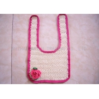 Comfortable Crochet Baby Items , Red Rose Creme Crochet Handmade Baby Bibs
