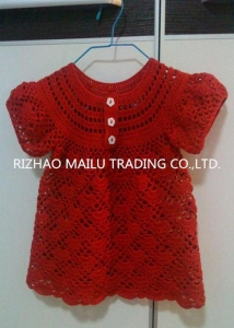 China Short Sleeve Crochet Baby Skirt Red Handmade Crochet Baby Clothes White Buttons on sale