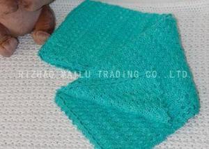 China Fan Pattern Green Handmade Crochet Blankets For Baby Boy , Knitted Baby Blankets on sale