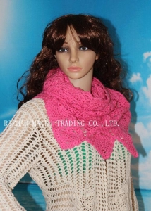 China Peachblow Corrugated edge hollow out tubbiness shape handmade crochet scarf on sale