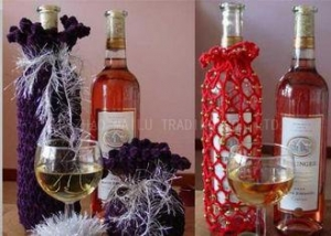 China Cotton Thread Knitted Wine Bottle Cover Decoration Crochet Wine Bottle Cozy on sale