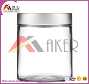 China 500ml Customized Transparent Glass Jar With Slip-Type Cap,Glass Candle Jar on sale