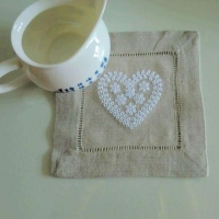 China Heart Embroidery Linen Hemstitch Cocktail Napkin Coasters NL-021 on sale