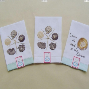 China Seashell Embroidery Linen Hand Guest Towel GL-014/15 on sale