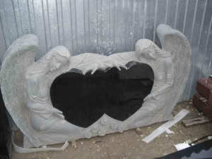 China Angels and Double Hearts Headstone on sale