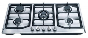 China 201 Level S.S Brushed Panel 5 Sabaf Burners Automatic Gas Stove Kitchen Gas Hob for Cooking on sale
