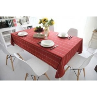 Big check Red canvas table cloth