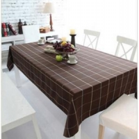 Big check Brown canvas table cloth