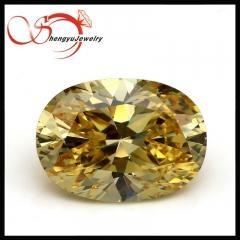 China Oval cubic zirconia golden yellow faceted sharp bottom cz stone for jewelry on sale
