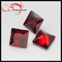 China Square cut garnet loose synthetic cz stone on sale