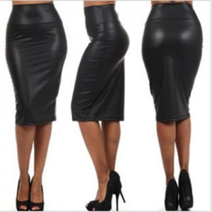 China Fashion Leather GOTHIC Slim fit Pencil Skirt Dresses M-XL Black Red Faux on sale
