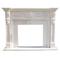 Stone White Marble Indoor Fireplace Mantel For House