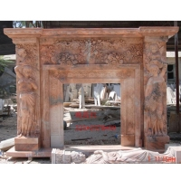 Carved Red Marble Stone Fireplace For Indoor Fireplace Mantel