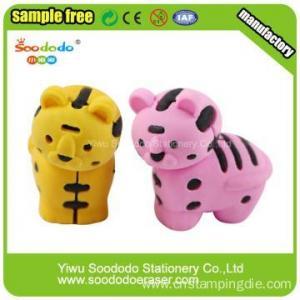 China 3D tiger kid eraser ,Animal rubber school office eraser on sale