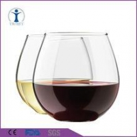 personalized clear stemless wine glass