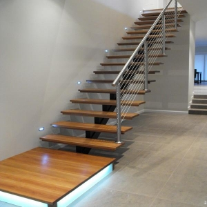 China Factory sell steel wood stair price / Moderm straight staircase design PR-L45 on sale