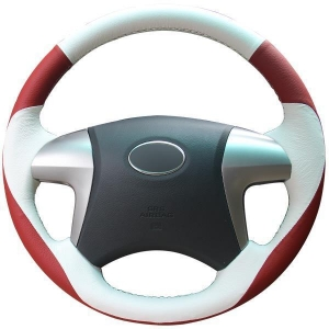 China White Leather Steering Wheel Cover For Toyota Highlander Toyota Camry 2007-2011 on sale