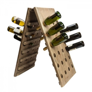 China wine rack 30 bottle triangle folding pine with specail holes single side 30 bottles wine stand on sale