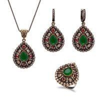 China Arrican beads jewellry set with 925 Sterling Silver Gemstone Set on sale