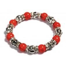 China Orange & Silver Beads Bracelet on sale