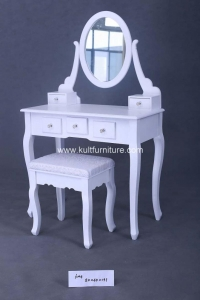 China This Stylish Contemporary Vanity Table Comes with Swivel Adjustable Mirrors and 5 Storage Drawers on sale