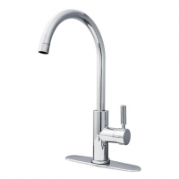 China Traditional Deck Mount Unique Single Hole Swivel Kitchen Tap Sink Faucets High ARC Gooseneck Spout on sale