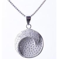 China 925 Stering Silver Rhodium plating sun and moon pendent necklace on sale