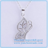 China Butterfly 925 Silver Necklace Rhodium Plating with AAA CZ Stones on sale
