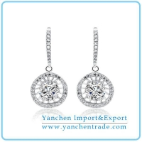 China New 925 Sterling Silver Earring Rhodium Plated with AAA CZ Stones on sale