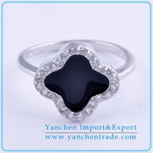 China 925 sterling silver cubric zircon Black enamel clover women ring on sale