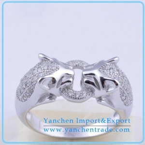 China white gold plating 925 sterling silver animal head mens ring on sale