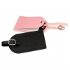China Small Black Pink Leather Luggage Tags Leather Luggage Labels PL-013 for sale