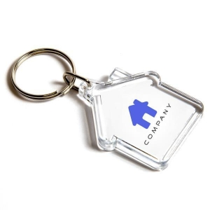 China Cheap Transparent Acrylic House Key Chains Brand Printed Keychains HK-021 on sale