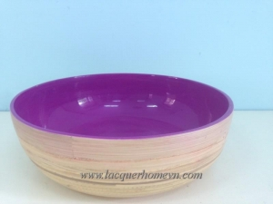China Bamboo lacquer bowls HT5006 Vietnam spun bamboo fruit bowl on sale