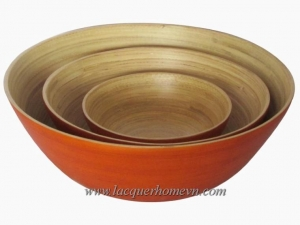 China Bamboo lacquer bowls HT5067 Bamboo salad bowl set on sale