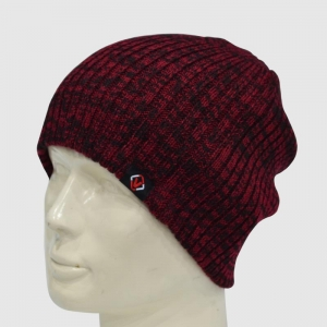 China Red/Black Knit Beanie with Woven Label on sale