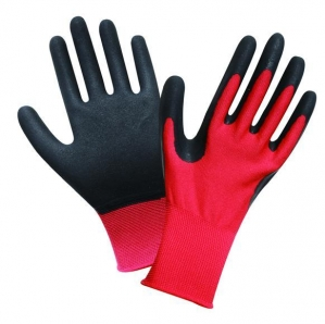China L2003 13G Red Polyester Shell,Black Latex Sandy Palm Coated Water Proof Gloves on sale