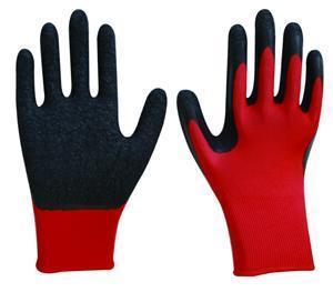 China L1601 13G Red Polyester/Nylon(polyamid), Black Crinkle Latex Safety Gloves(Construction Gloves) on sale
