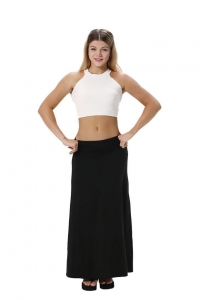 China High Waist Wide Band Floral Length Maxi Skirt In Black on sale