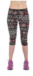 China Yomsong Brand Women Funny Basic Elegant Geometric Tribal Printing Skintight Pliable Capri Leggings on sale