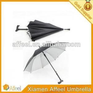 China Straight Umbrella 23inch Walking Stick Crutch Umbrella With Wooden Handle on sale