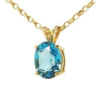 Blue Topaz Pendant In 14K Solid Gold