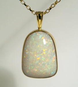 China Precious White Opal Pendant in 18K Gold on sale