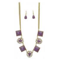 China Square Crystal Framed Oval Link Necklace Set Gold Tone Purple on sale