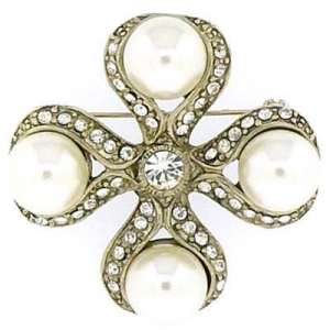 China Vintage Antique Gold Pearl and Crystal Cross Heirloom Brooch(Code:BR2443) on sale