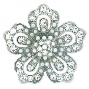 China Vintage Silver Crystal & Pearl Star Flower Brooch(Code:BR2610) on sale