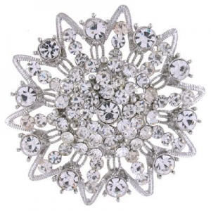 China Victorian Clear Crystal Vintage Flower Brooch Bridal(Code:BR0442) on sale